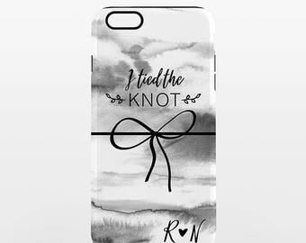 Personalized iPhone Case iPhone Cover Custom iPhone Case Initials iPhone Case Wedding iPhone Case Tied the Knot Bow iPhone Case Tough Case