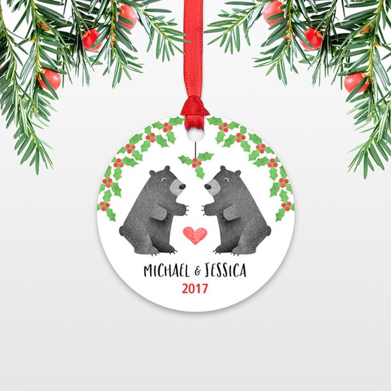 Personalized Christmas Ornaments, Black Bear Couple Engagement Christmas Ornament, Wedding Ornament, Engaged Ornament Christmas Decoration