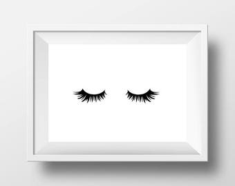 Printable Set of Eyelashes Decor Wall Art Print Instant Download Fashion Make Up