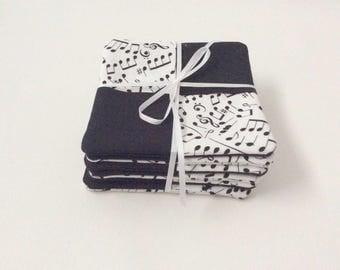 Coaster Set, Music Mug Rugs, Music Coasters, Black and White, Fabric Coaster Set, Handmade Coasters, Musical Notes, Musical coasters