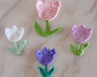 4 Crochet Flower Crochet Tulips With Leave Applique YH-237
