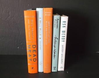 Shades of Orange and Turquoise Decorative Books Decoration - Shades of Orange and Turquoise Book Bundle-  5 books