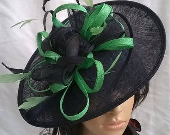 Navy & Spring green shaped Fascinator  Hat on a Headband..for Wedding,Races