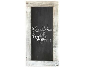 Barnwood Framed Chalkboard | 24 x 12 Inch - Whitewash