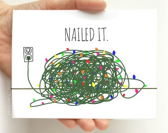 Nailed It - Funny Christmas Cards - Funny Holiday Cards - Tangled Christmas Lights, Tangled Lights Card, Funny Hanukkah Cards, Holiday Cards