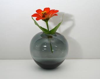 Vintage Holmegaard Smoky GreenBlue Vase, Danish Round Art Glass Vessel, Per Lutken 1958, Artist Engraved Signature, Made in Denmark