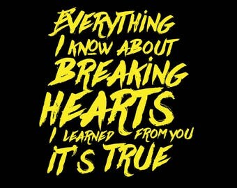 Everything I Know About Breaking Hearts I Learned From You It's True - Black Tshirt FREE SHIPPING