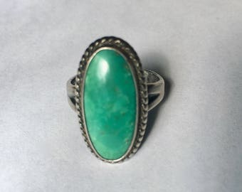 vintage green turquoise Bell Trading Post ring, size 6.25