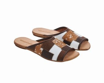 Brown leather sliders, Helena, flat sandals, handmade