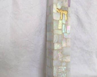 Handmade Mosaic Wedding shards, housewarming, bridal shower, newborn, anniversary, holiday Mezuzah, Mezuza, mazuzzi, mazuzza