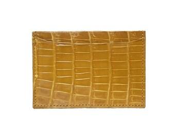 Yellow Alligator Crocodie Cardholder