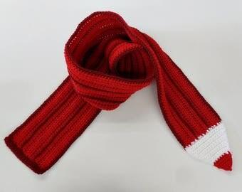 Crochet / Red  Color Pencil Scarf