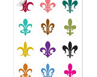 Fleur De Lis Wine Glass Decals, 1 Inch Round Glass Tags, Glass Charms, Mardi Gras, Glass Not included, 12 Per Pack