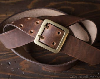 "Custom sized belt, 1.5"" width, Horween Dublin leather, center bar buckle - brown nut"