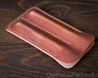 Double pen sleeve case, Horween Dublin leather - cognac