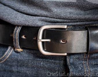 "Custom sized belt - 1.5"" width - THICK 12 oz. black harness leather - heel bar buckle"