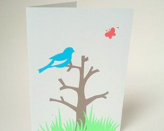 """Bird on a branch"" card"