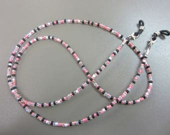 Mixed Pink Beaded Glasses Chain, Handmade Spectacle Chain, Pink Black and Cream Glasses Holder, Pretty Lanyard, Pretty Eyeglass Chain