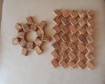 Cork Hot Plate trivets, originally from Portugal. About 60 years old.  A little dog-eared