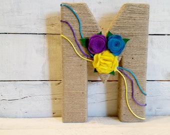 Jute Wrapped Letters | Felt Flowers | Wall Letters | Kid's Room Wall Decor | Nursery Decor | Custom Wall Letters