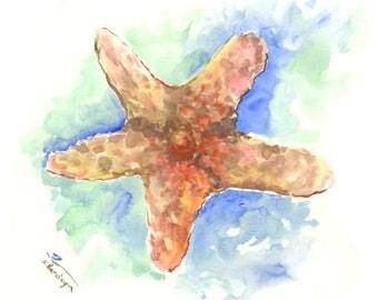 Shara Brown sky blue starfish art, original watercolor painting, sea animals 10 x 8 in