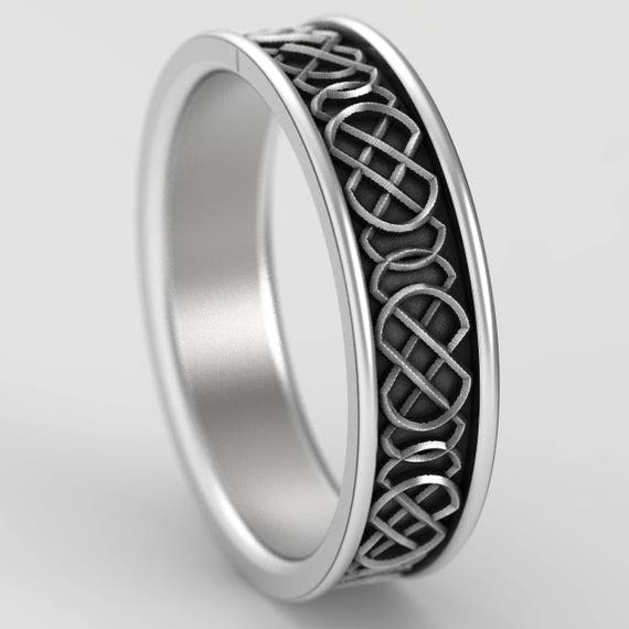 Celtic Wedding Ring With Quaternary Style Knotwork Design in Sterling Silver, Made in Your Size CR-346