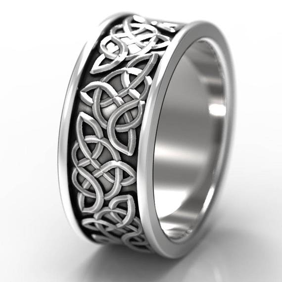 RESERVED for Linda Sedano Celtic Wedding Ring With Raised Relief Knotwork Design in Sterling Silver, Made in Your Size CR-66