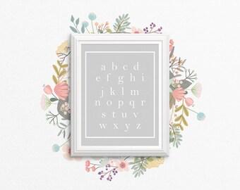 Nursery PRINTABLE Wall Art - Alphabet - Minimalist - Modern - Grey and White - Nursery Decor - Baby Boy Shower Gift - SKU:3009