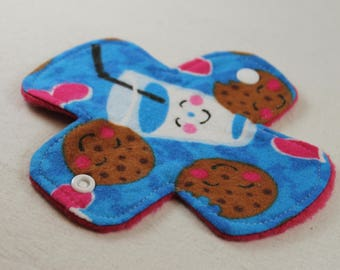 "Reusable Cloth Pad - 6"" Pantyliner - Cookies and Milk Flannel"