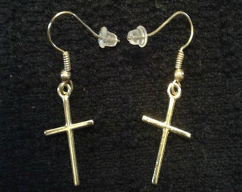Gold Cross Crucifix Earrings Dangle and Drop