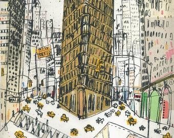 FLATIRON BUILDING, New York Art Print, Print Manhattan, New York City Sketch, New York Building, New York Taxi, Skyscraper Drawing, NYC Art