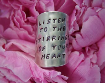 Listen To The Stirrings Of Your Heart Stamped Spoon Ring
