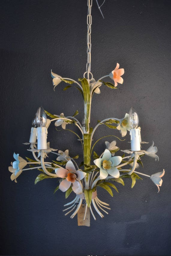 Beautiful old painted toleware flower chandelier from france