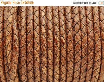 "30% OFF 5mm Round Braided Leather Cord  -   2ft/24"" - Distressed Cognac - Wire Core"