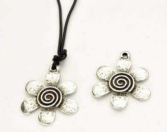 10% OFF Flower Swirl Pendant/Charm - Antique Silver -  Qty. 1 - Pendants - Charms - Focal Piece