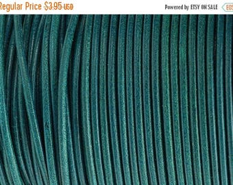 30% OFF 2MM Round Leather Cord - True Teal - 2Yards/6ft - High Quality European Leather Cord