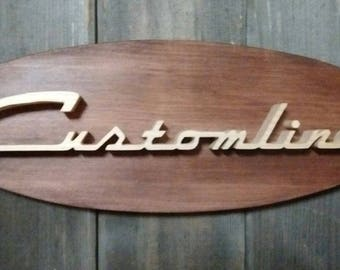 1956 Ford Customline Emblem Oval Wall Plaque-Unique scroll saw automotive art created from wood for your garage, shop or man cave.