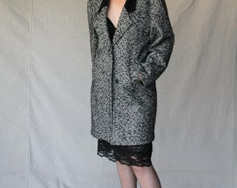 Spectacular Sale 25% off Tweed Blend Coat with black leather collar by NYG New York Girl size 12- 14
