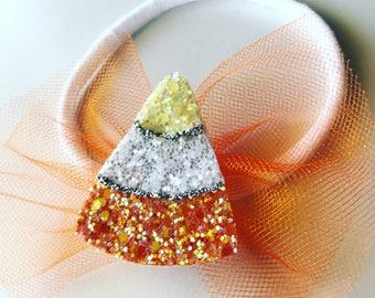 Glitter Candy Corn Headband or Clip