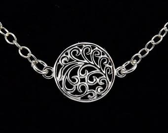 END Of SUMMER SALE Round Filigree Sterling Silver Necklace