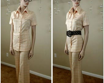 vintage 70s Plaid suit handmade two pieces Pants/jacket