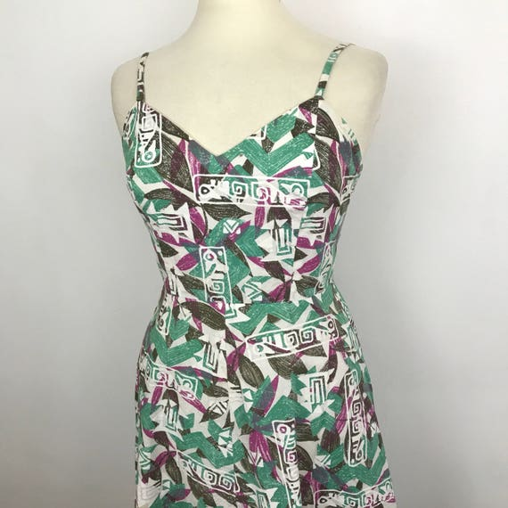 Vintage cotton dress fit and flare 60s 70s style batik wax style fabric traditional print UK 14 tikki 60s sundress hawaii