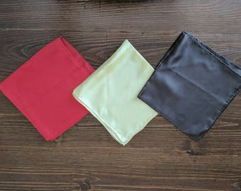 Set of 3 Silk Vintage Hand Rolled Edges Pocket Squares: Brown, Yellow, Red