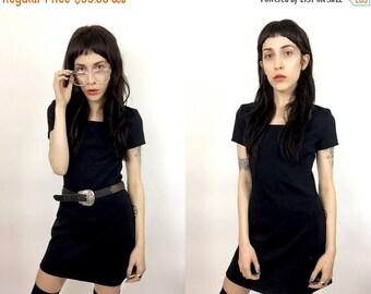 50% OFF Vtg 90's Neoprene Capsleeve Mini Dress SZ XS/Small - Minimalist Minimal Goth Cute Minidress Miniskirt