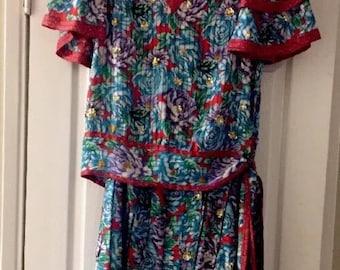 Diane Freis Vintage floral printvpleated skirt & top set size S/M