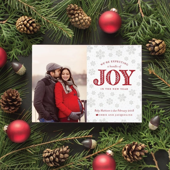 Holiday Pregnancy Announcement Card, Maternity Photo Card, We're Expecting Christmas Card, Christmas Pregnancy Announcements - Expecting Joy