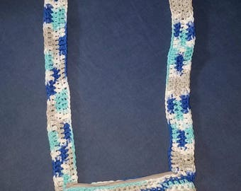 Crossbody bag, multi colored, brand new, crocheted with lining and zipper