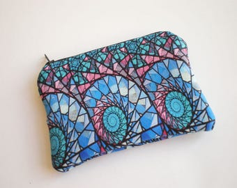 Coin purse, Small zipper pouch, Card wallet, Abstract, shells, Gift idea, Abstract coin purse,