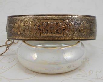 Vintage Hinged Brass Bangle Bracelet   3677