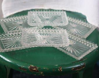 Vintage Set of Six Cut Glass Bone Plates Starburst Pattern